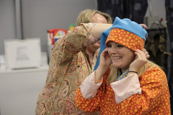 Steph Garrett has a costume fitting before rehearsing for the Dallas Children's Theater's production of Go, Dog. Go! opening on Jan. 24.