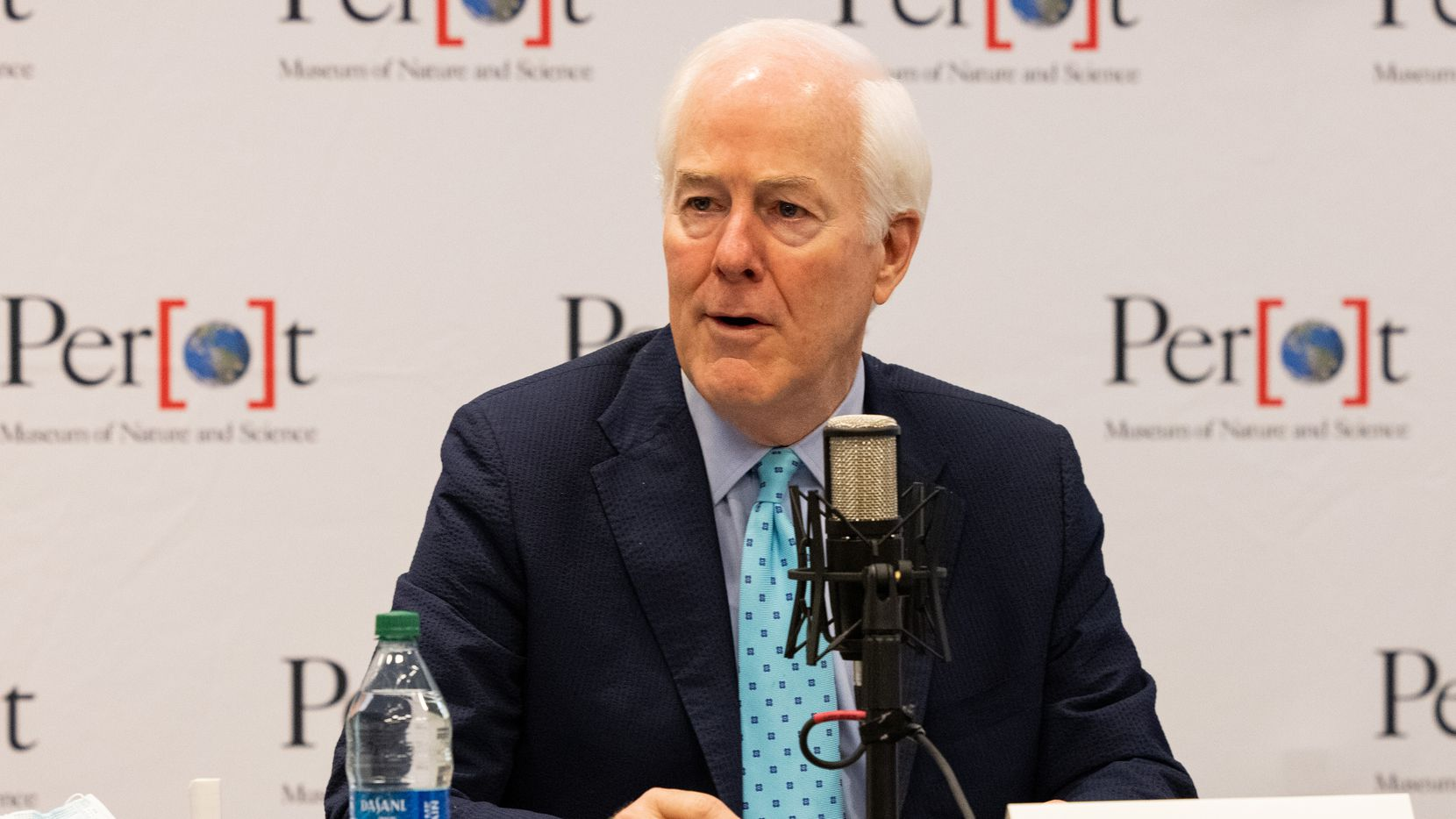 U.S. Senator John Cornyn speaks during a roundtable discussing the semiconductor shortages impact on manufacturing in North Texas at the Perot Museum of Nature and Science on May 6, 2021, in Dallas.