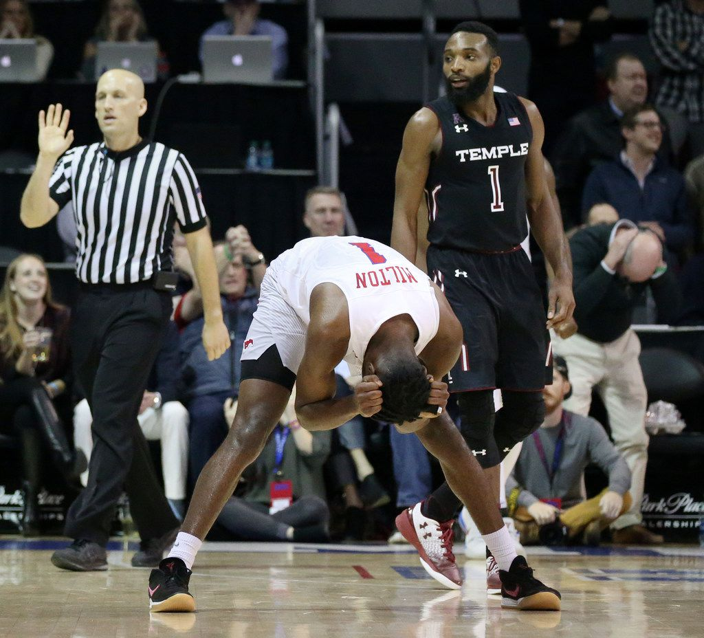 SMU guard Shake Milton (1) reacts after the ball went out of bounds in the second half of an NCAA basketball game against Temple at Moody Coliseum in Dallas Wednesday January 10, 2018.  Temple won the game 66-64. (Andy Jacobsohn/The Dallas Morning News)