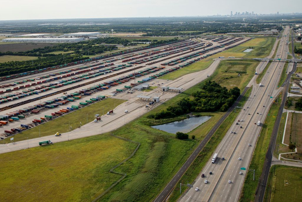 The Union Pacific Dallas Intermodal Terminal along Interstate 45 is seen in an aerial view of the Southern Dallas Inland Port of Dallas. The area is being looked at for proposed project funding under the federal RAISE program.