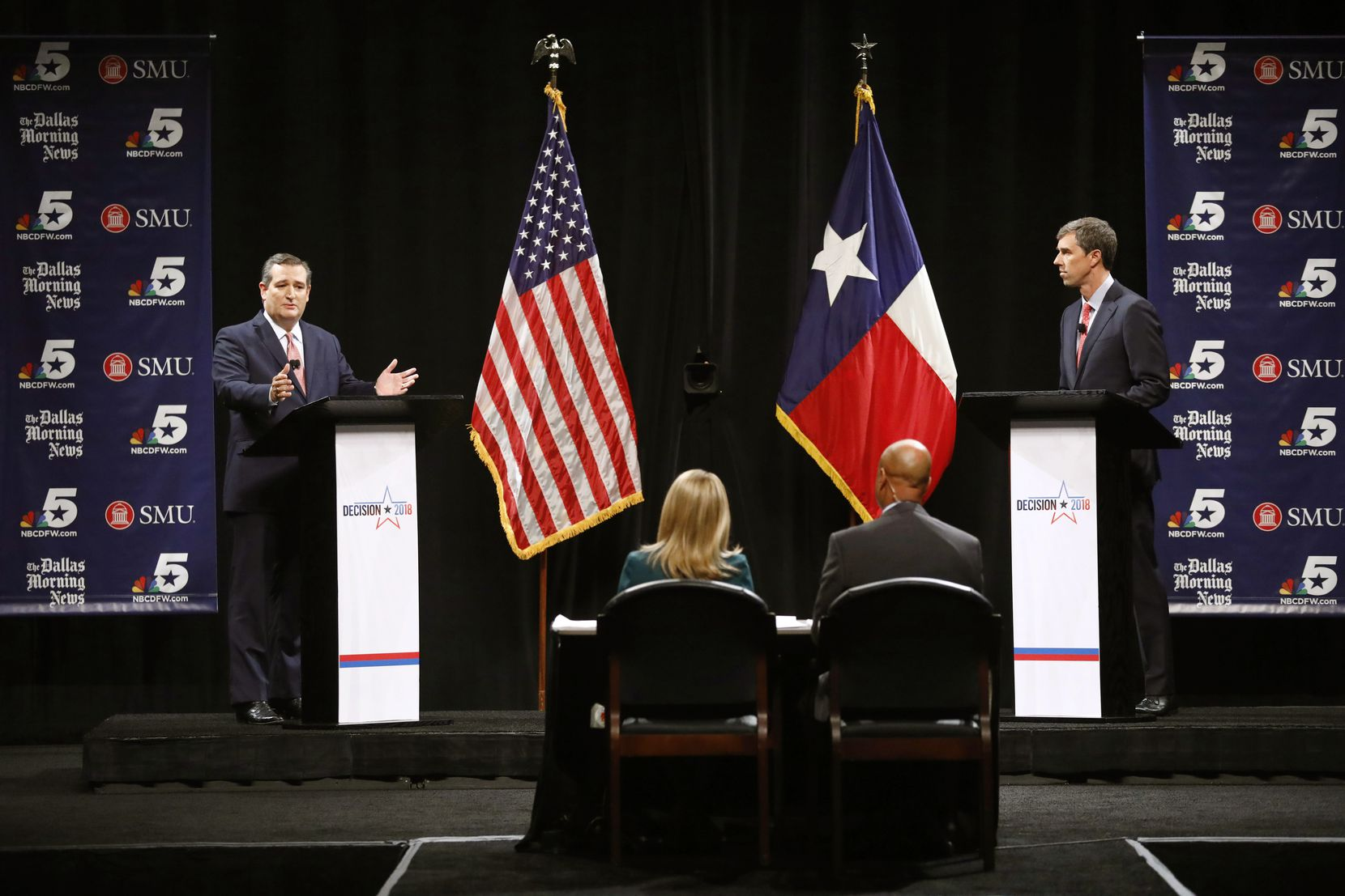 Republican U.S. Sen. Ted Cruz (left) and U.S. Rep. Beto O'Rourke, D-El Paso, shown in their first debate in Dallas last month, are inundating TV with ads asking for votes in the Nov. 6 election.