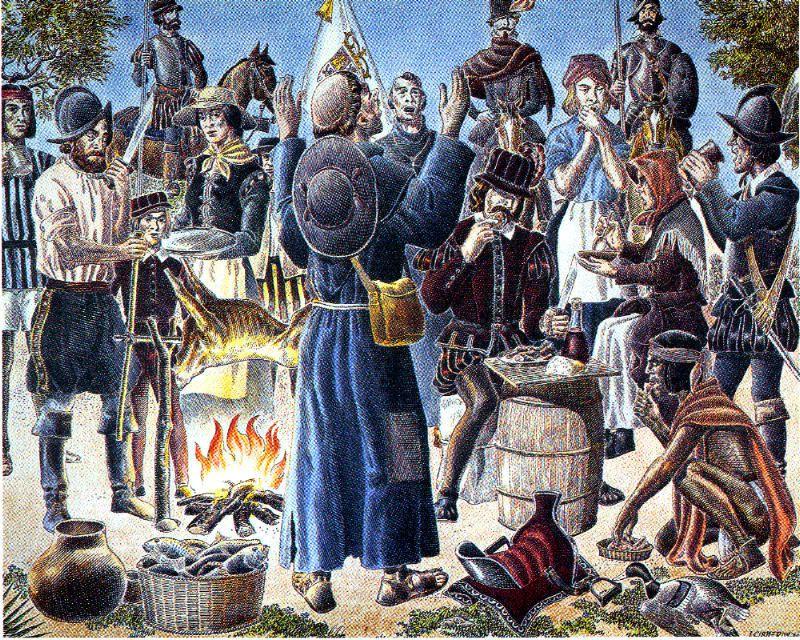 El artista José Cisneros pintó esta estampa de la primera celebración de Acción de Gracias.