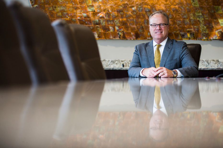 Jim Hinton, the new CEO of Baylor Scott and White Health System, poses for a portrait in a conference room of their corporate offices on Tuesday, April 11, 2017 in Dallas. (Ashley Landis/The Dallas Morning News)