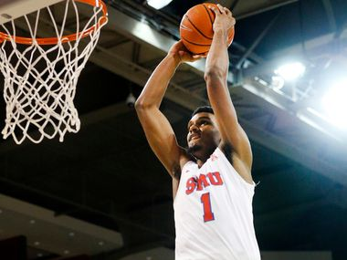 Southern Methodist Mustangs forward Feron Hunt (1) throws down a break away dunk against the Jacksonville State Gamecocks during the first half at Moody Coliseum  in University Park, Texas, Tuesday, November 5, 2019. (Tom Fox/The Dallas Morning News)