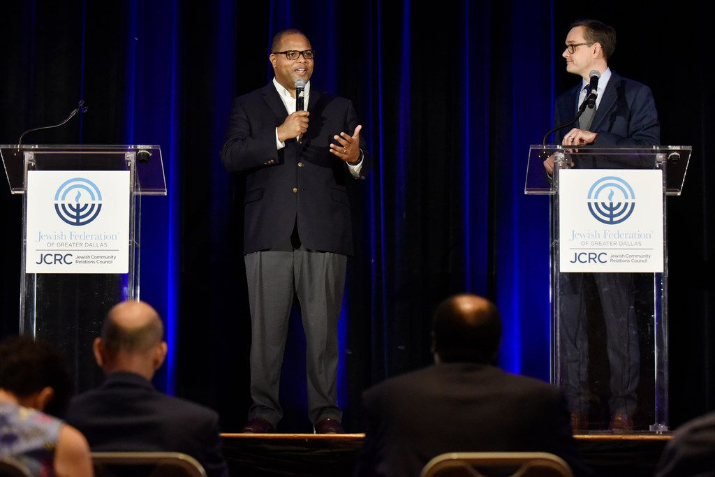 Dallas Mayoral candidates Eric Johnson, left, and Scott Griggs, participate in a Mayoral run-off forum hosted by the Jewish Community Relations Council of the Jewish Federation of Greater Dallas, May 23, 2019 at the Aaron Family Jewish Community Center in Dallas. (Ben Torres/Special Contributor)
