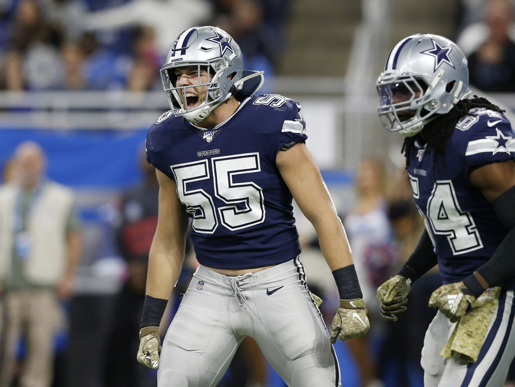 Dallas Cowboys outside linebacker Leighton Vander Esch (55) celebrates after a defensive stop in a game against the Detroit Lions during the first half of play at Ford Field in Detroit, on Sunday, November 17, 2019.