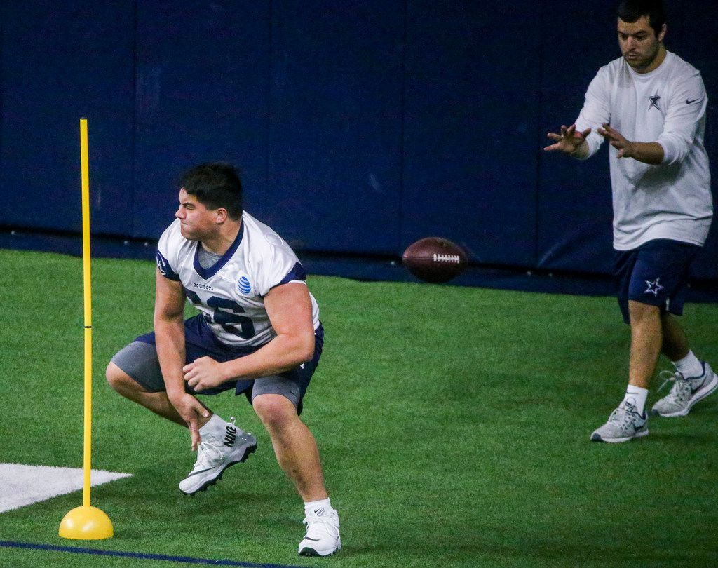 Dallas Cowboys offensive lineman Connor McGovern (66) runs through drills during the Cowboys rookie minicamp practices at The Star in Frisco, Texas on Saturday, May 11, 2019.(Shaban Athuman/Staff Photographer)