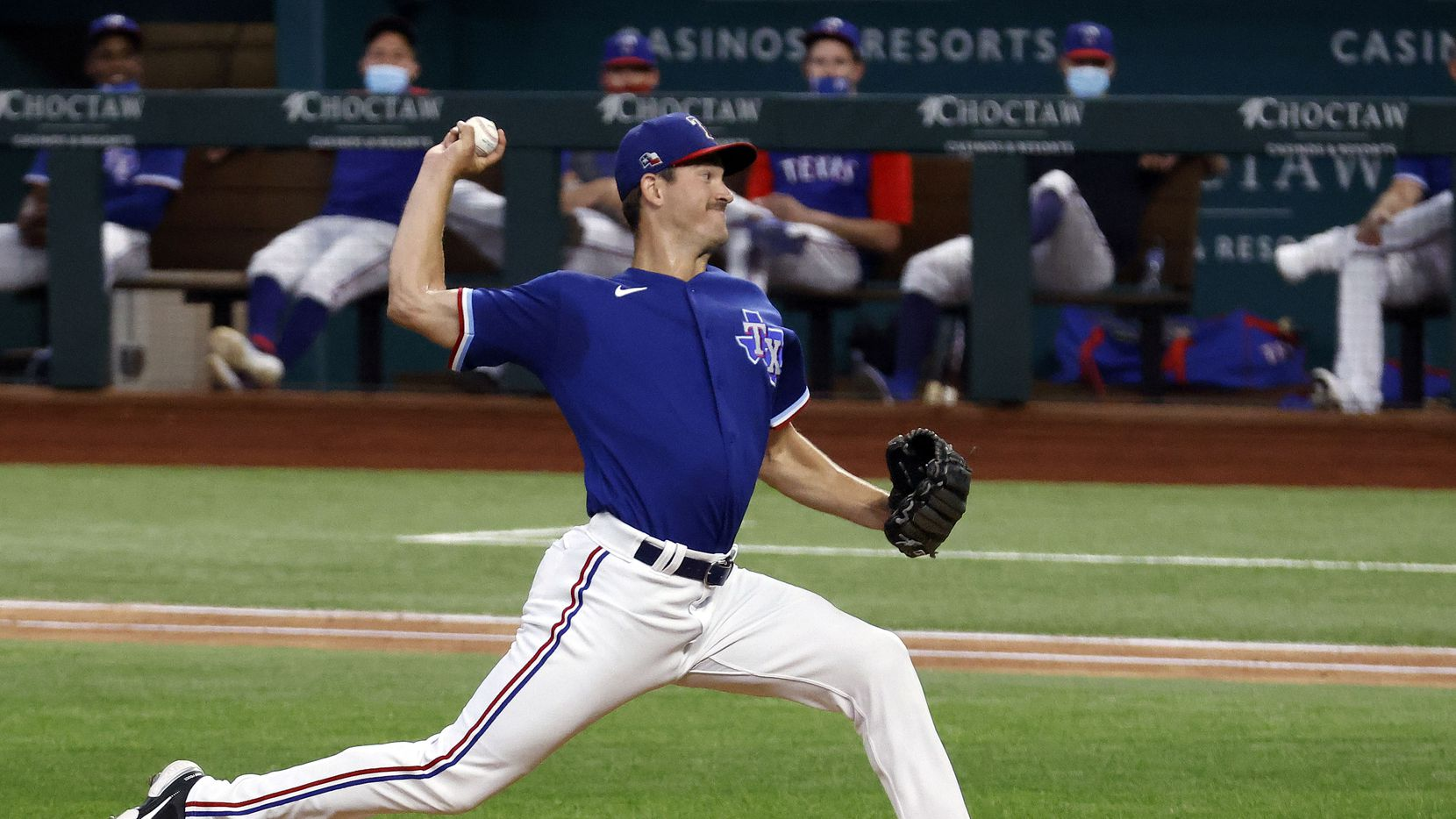 Texas Rangers starting minor league pitcher Drew Anderson throws against the Kansas City Royals in an alternate-site game for minor leaguers at Globe Life Field in Arlington, Friday, April 23, 2021.