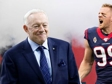 Now that J.J. Watt is a free agent, maybe Jerry Jones should try to keep him in Texas and make him a Cowboy. (Photo credits: Left, Vernon Bryant/The Dallas Morning news; Right, Wesley Hitt/Getty Images; Edit by SportsDay Staff)