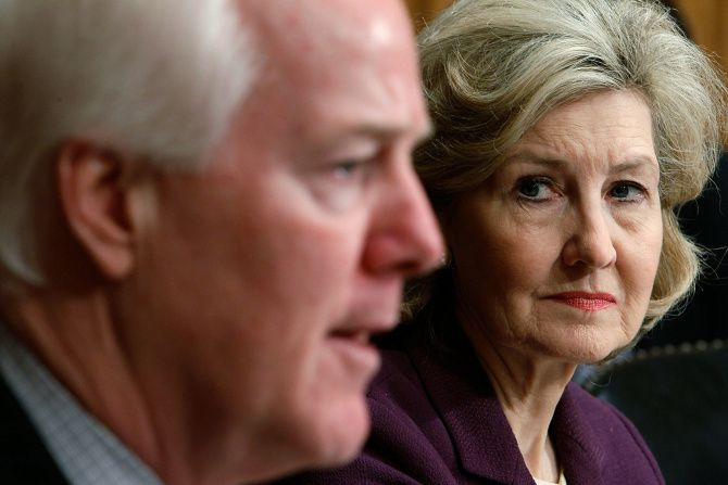"""""""She's a person of enormous energy and intensity, particularly when it comes to advancing Texas issues,"""" Sen. John Cornyn said of Kay Bailey Hutchison."""