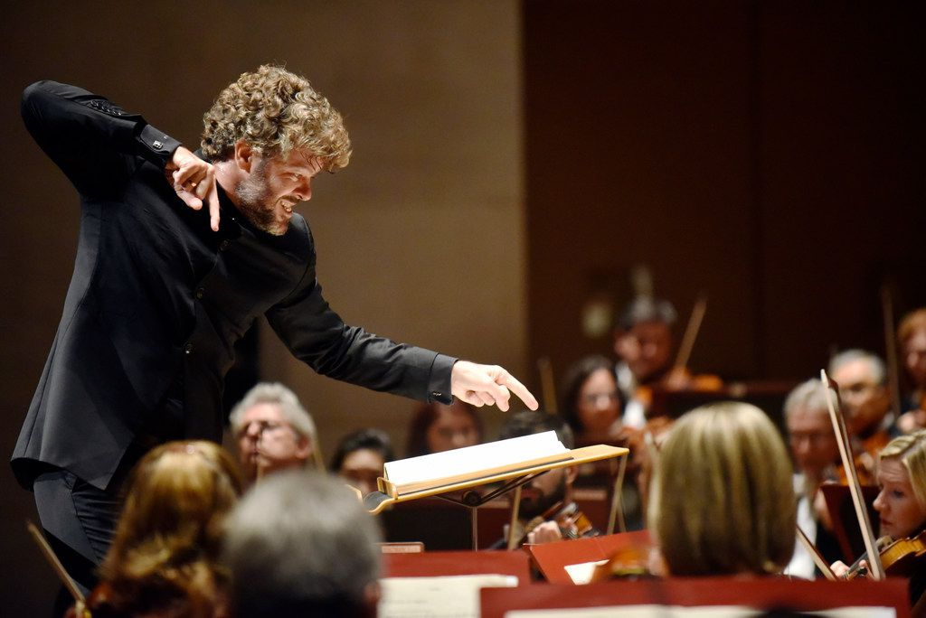 Guest conductor Pablo Heras-Casado conducts the Dallas Symphony Orchestra during a performance of Debussy La Mer (The Sea), Thursday evening, Oct. 19, 2017 at the Meyerson Symphony Center in downtown Dallas. Ben Torres/Special Contributor