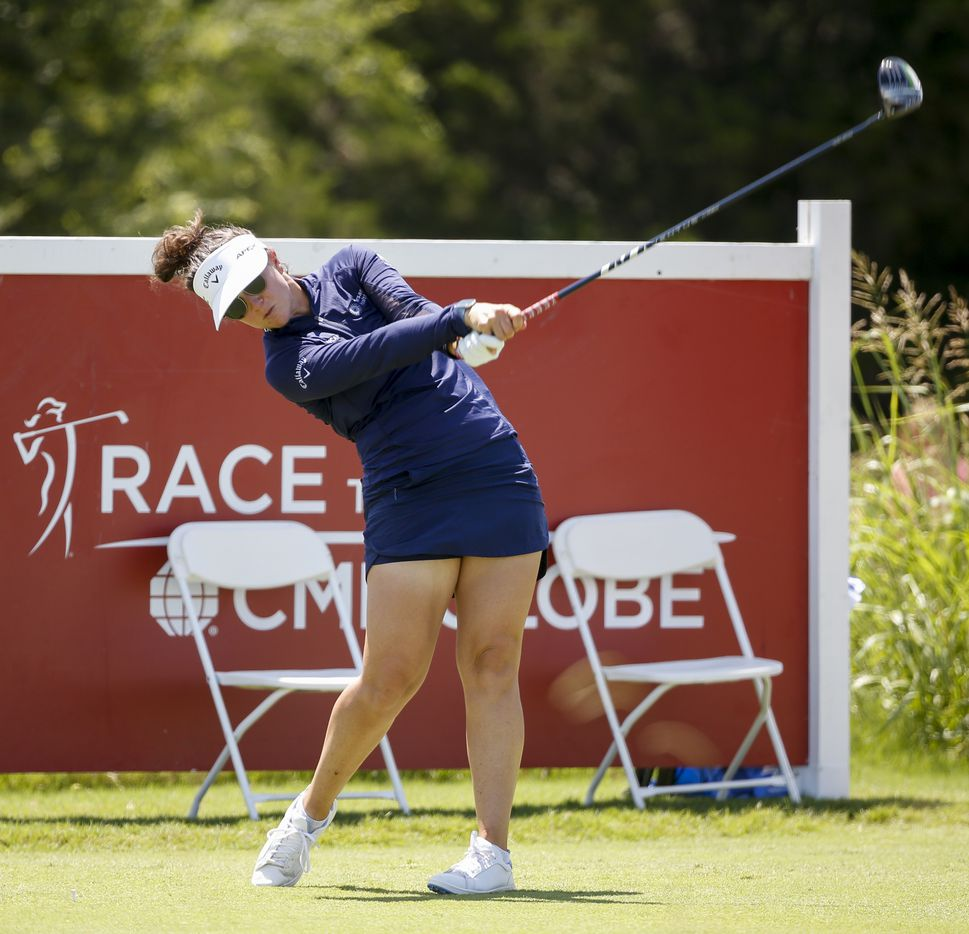 Professional golfer Emma Talley tees off at the 18th hole during round one of the LPGA VOA Classic on Thursday, July 1, 2021, in The Colony, Texas. Talley finished the first day at six under par. (Elias Valverde II/The Dallas Morning News)