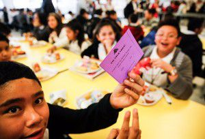 Students mark ballots Friday in the John B. Hood Middle School cafeteria. (Tom Fox/Staff Photographer)