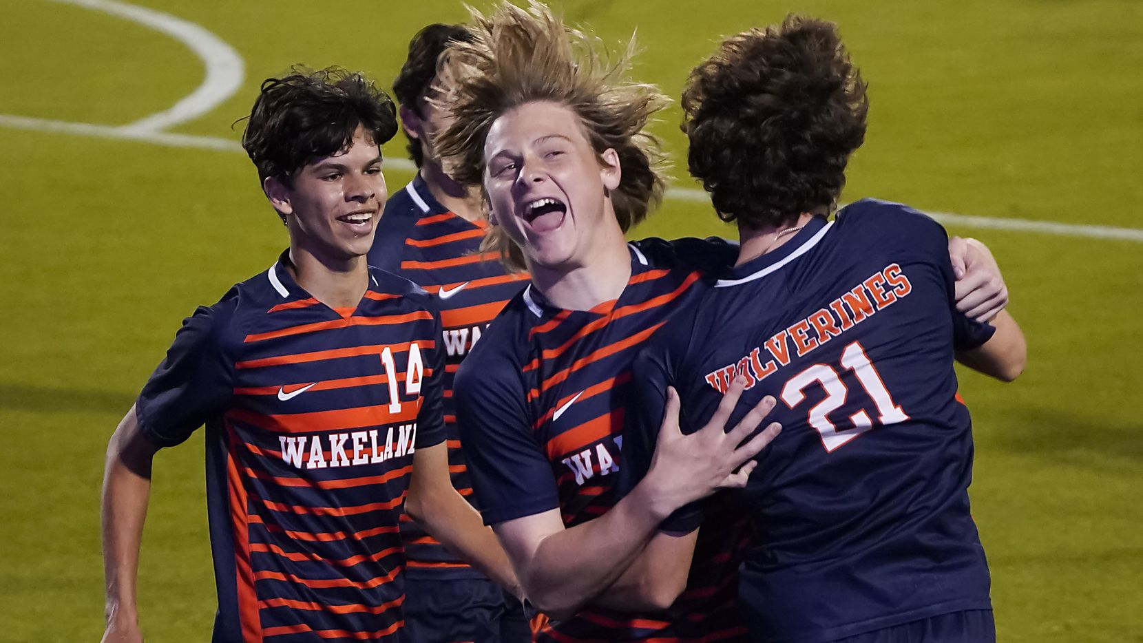 Frisco Wakeland's Jimmy Suerth (21) celebrates with Peyton Atchley (15) after scoring a goal during the first half of a victory over Adamson in a Class 5A boys soccer area-round playoff game at Toyota Stadium on Tuesday, March 30, 2021, in Frisco. (Smiley N. Pool/The Dallas Morning News)