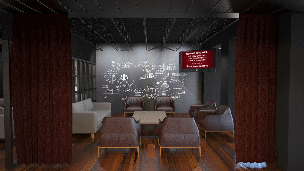 A conceptual computer rendering  of a meeting room in Phil Romano's Network Bar in Trinity Groves that is slated to open in October.
