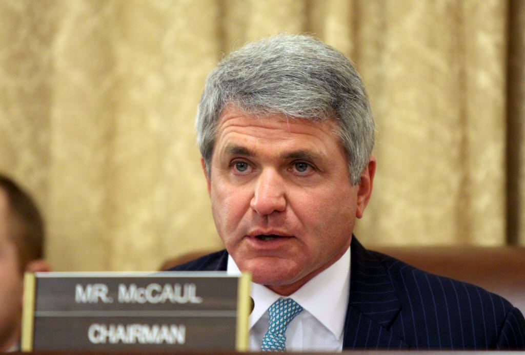 In this March 26, 2015 file photo, House Homeland Security Chairman Rep. Mike McCaul, R-Texas speaks on Capitol Hill in Washington. U.S. law enforcement officials expressed concern Wednesday about the growing use of encrypted communication and private messaging by supporters of the Islamic State, saying the technology was complicating efforts to monitor terror suspects and extremists.  (AP Photo/Lauren Victoria Burke, File) / mug - mugshot - headshot / 06042015xNEWS 06042015xBRIEFING
