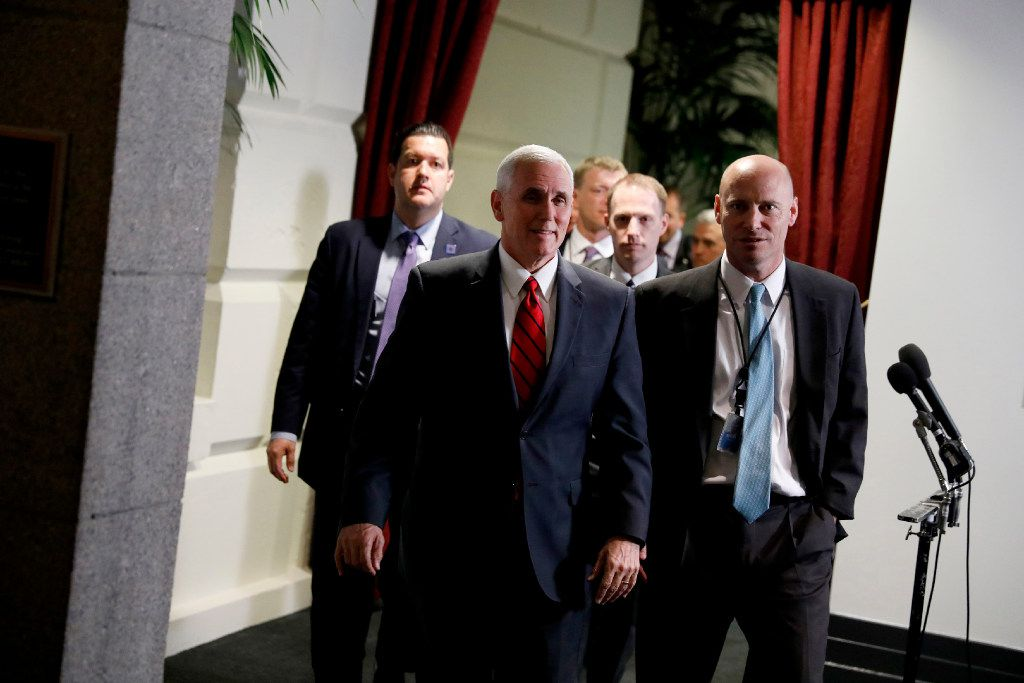 WASHINGTON, DC - APRIL 4: Vice President Mike Pence departs after a meeting of House Republicans on Capitol Hill April 4, 2017 in Washington, DC. Republicans are hoping to win over the Freedom Caucus on a new healthcare bill. (Photo by Aaron P. Bernstein/Getty Images)