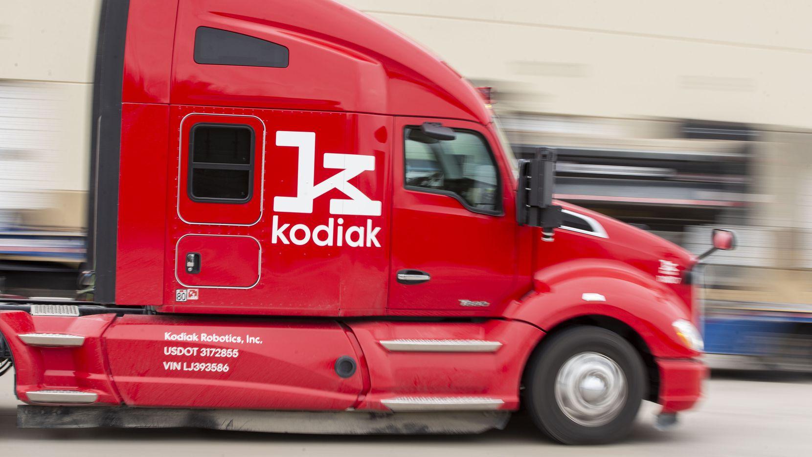 A Kodiak Robotics self-driving semi-truck completes a demonstration at the company's development warehouse in Lancaster.