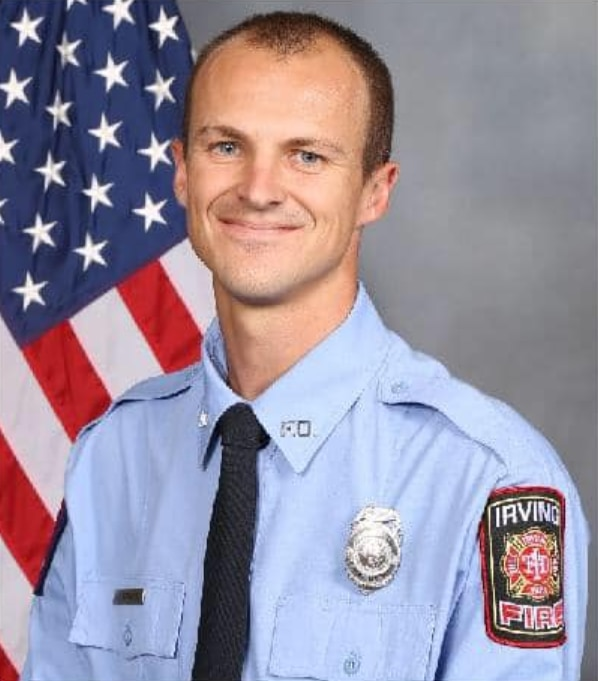 Firefighter Aaron Donohue remains in serious condition with non-life threatening injuries after he was struck by a wrong-way driver at the scene of a previous accident Saturday.