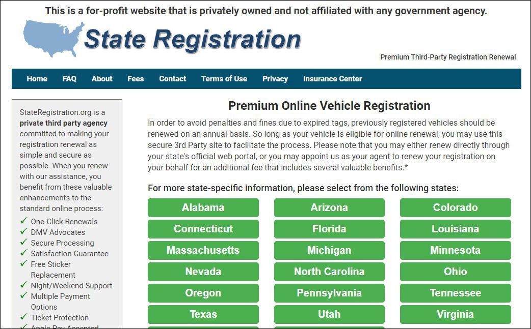 StateRegistration.org is a website offering vehicle registration and other services. But it's not an official state site, and it confuses people.
