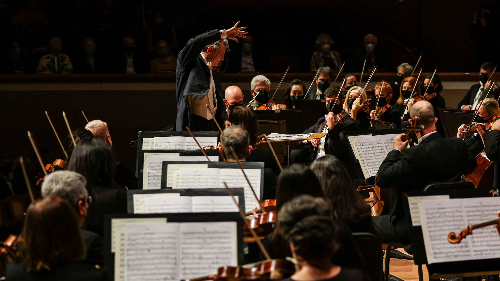 Music director Fabio Luisi conducts the Dallas Symphony Orchestra in Aaron Copland's Organ Symphony in the season opening at the Meyerson Symphony Center in Dallas on Sept. 16, 2021.