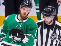 Dallas Stars defenseman Jani Hakanpaa (2) is pulled from a fight during the second period of a Dallas Stars home opener against the Los Angeles Kings on Thursday, Oct. 21, 2021, at American Airlines Center in Dallas.