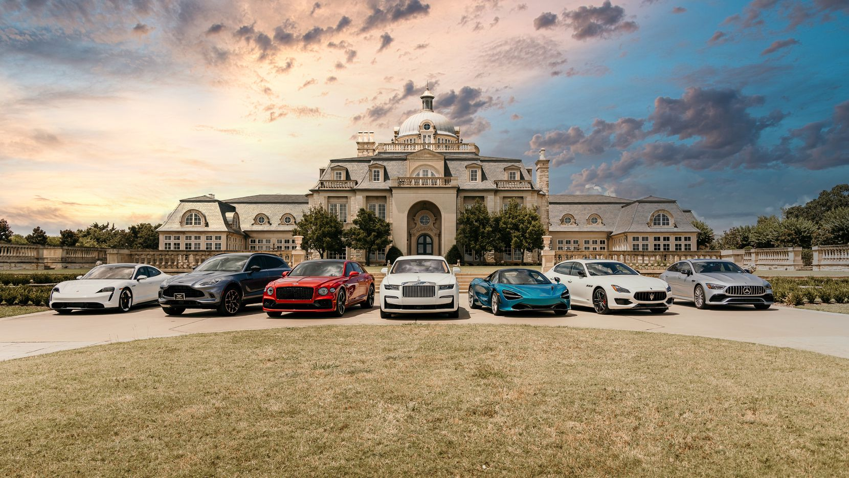 The Olana, a $50 million Denton County mansion rented as a high-end event and wedding venue, serves as a backdrop for luxury vehicles from Avondale Group's dealerships.