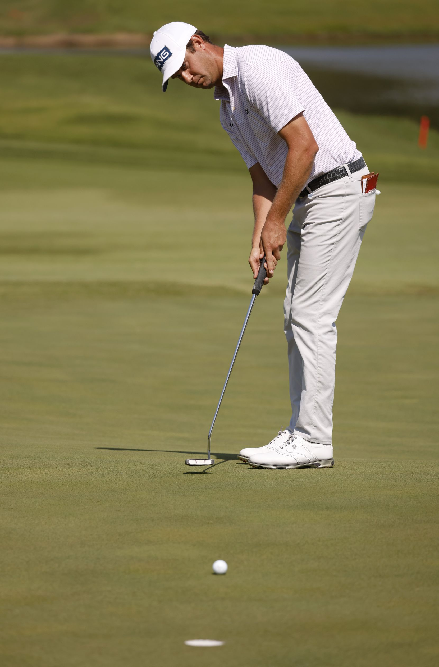 Harris English putts on the 14th hole during round 3 of the AT&T Byron Nelson  at TPC Craig Ranch on Saturday, May 15, 2021 in McKinney, Texas. (Vernon Bryant/The Dallas Morning News)