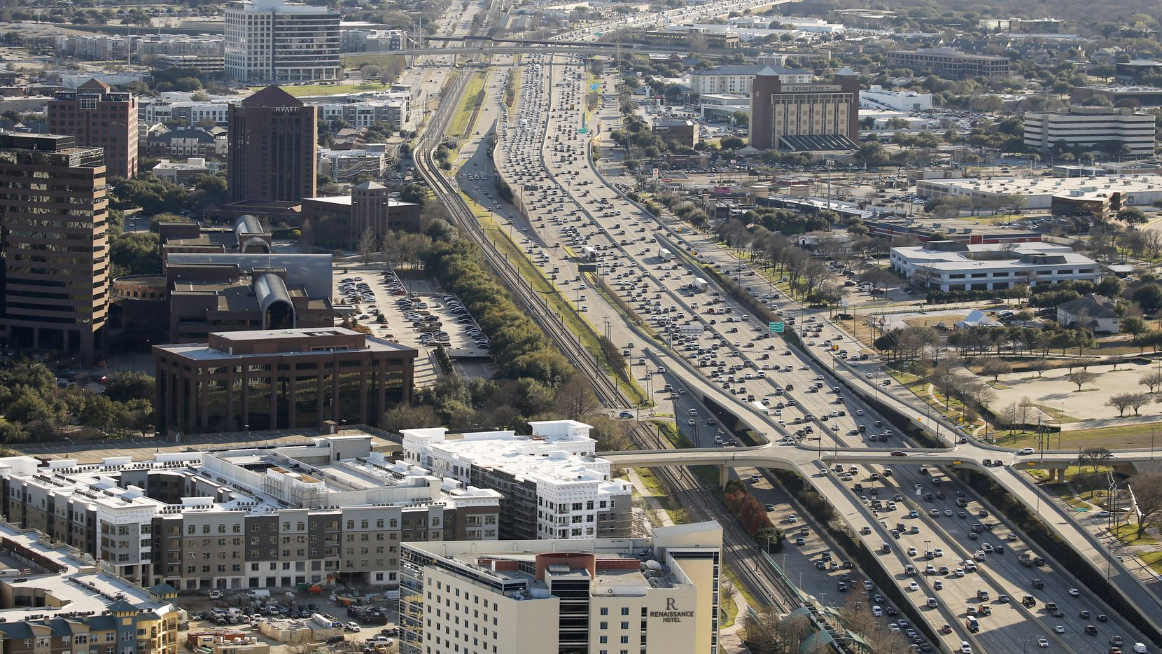 Traffic along Central Expressway in Richardson, Texas on Friday, February 28, 2020.