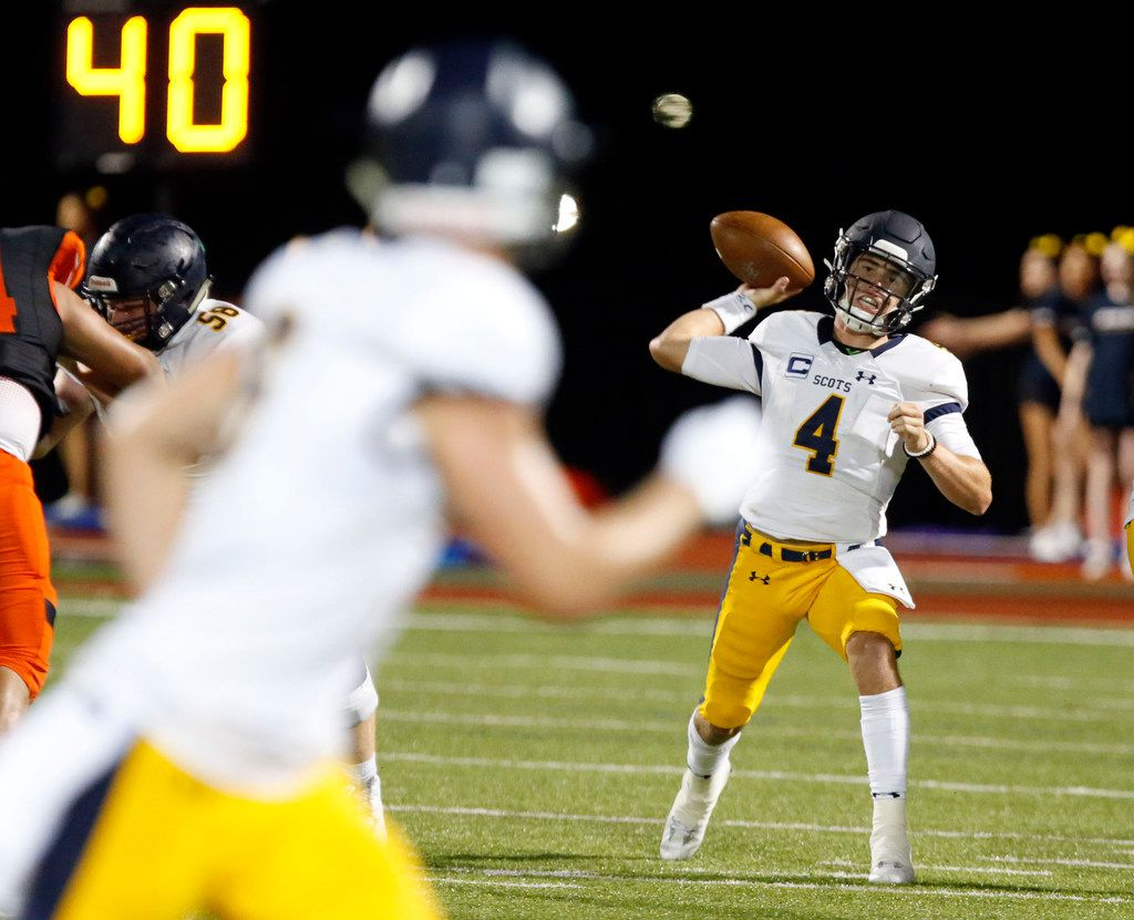 Highland Park quarterback Chandler Morris (4) throws a pass during the first half of the Highland Park Vs. Rockwall high school football game at Wilkerson-Sanders Stadium in Rockwall on Friday, August 30, 2019. (John F. Rhodes / Special Contributor)