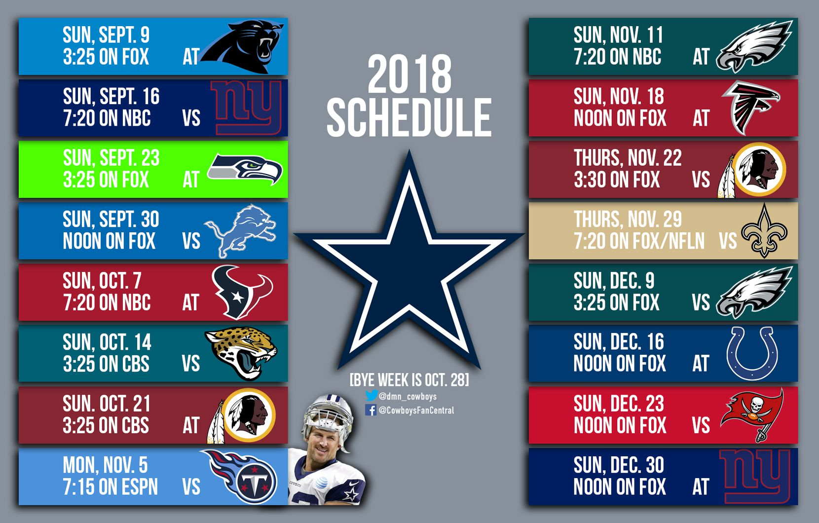 Dallas' 2018 schedule.