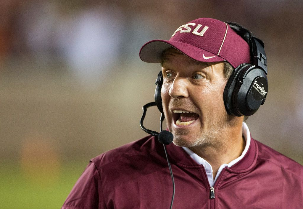 In  this 2016 file photo, Florida State coach Jimbo Fisher shouts instructions during the team's NCAA college football game against Clemson in Tallahassee, Fla.