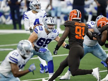 Cowboys offensive tackle Brandon Knight (69) blocks Browns defensive end Joe Jackson (91) during the fourth quarter of a game on Sunday, Oct. 4, 2020, at AT&T Stadium in Arlington.