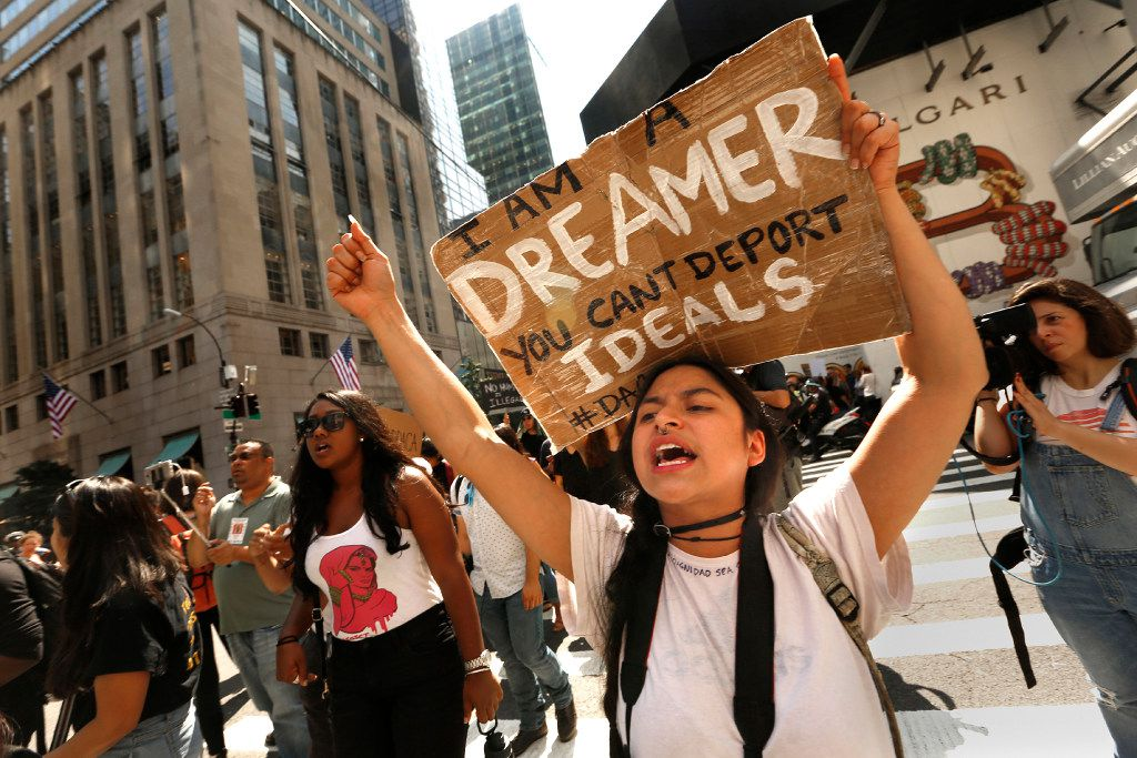 """Gloria Mendoza, age 26, is a Dreamer. She is originally from Mexico City. She took part in the protests on Sept. 5, 2017. Protesters gather at Trump Tower in New York in opposition to the announcement by President Trump that #DACA will be changed. Many of those attending are """"Dreamers,"""" and may be affected by the changes.  (Carolyn Cole/Los Angeles Times/TNS)"""