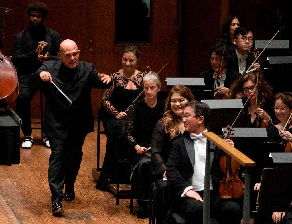 Music Director Jaap van Zweden walked onto the stage at David Geffen Hall, Lincoln Center, on Sept. 20, 2018, in New York. Van Zweden began his tenure as the 26th music director of the New York Philharmonic with his inaugural Opening Gala Concert.