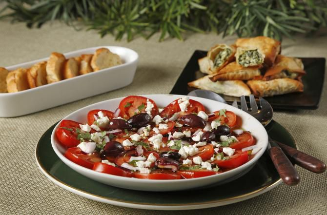 Greek bruschetta and spanakopita