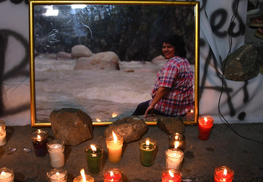 Candles are lit in memory of slain Honduran environmental leader Berta Caceres, during a demonstration to demand justice and punishment for the masterminds behind her murder, in the surroundings of the Sentence Court in Tegucigalpa on November 29.