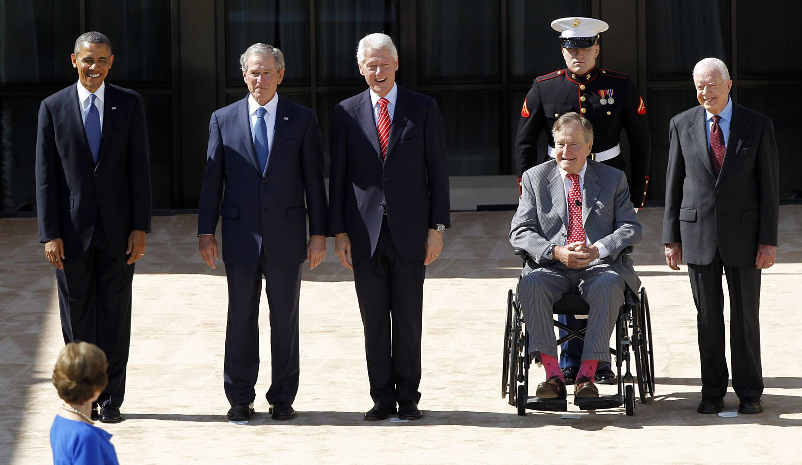Former first lady Laura Bush looked on as former presidents (from left) Barack Obama, George W. Bush, Bill Clinton, George H.W. Bush and Jimmy Carter were introduced at the George W. Bush Presidential Center dedication on April 25, 2013.