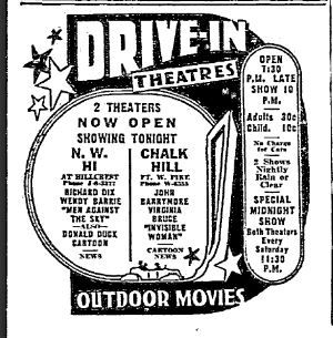 Northwest Highway and Chalk Hill Drive-In Theaters' newspaper advertisement.