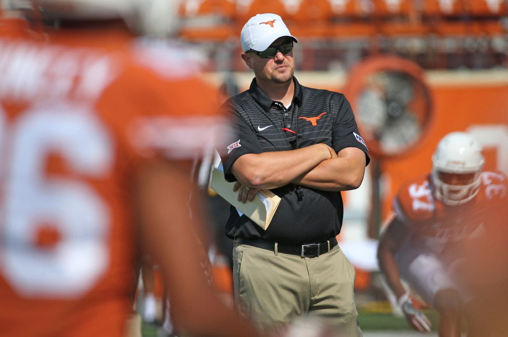 University of Texas Longhorns head coach Tom Herman is pictured during warmups before the University of Maryland Terrapins vs. the University of Texas Longhorns NCAA football game at Darrell K Royal Texas Memorial Stadium in Austin, Texas on Saturday, September 2, 2017. (Louis DeLuca/The Dallas Morning News)