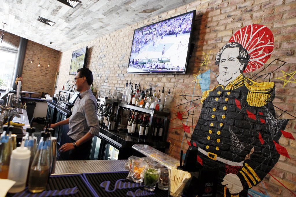 Art at the bar inside Black Ship Little Katana restaurant, on Monday, March 14, 2016 outside of the Omni Hotel in Downtown Dallas. (Ben Torres/Special Contributor)