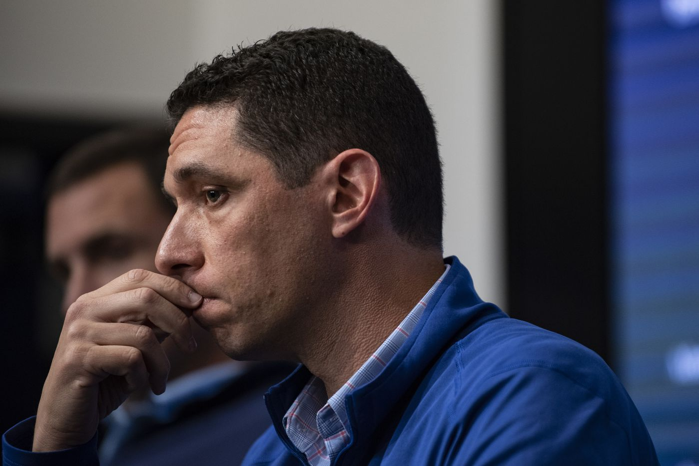Texas Rangers President of Baseball Operations Jon Daniels listens to a question from a reporter during the Texas RangersÕ end of the year press conference at Globe Life Field on Wednesday, October 6, 2021 in Arlington, Texas. (Emil Lippe/Special Contributor)