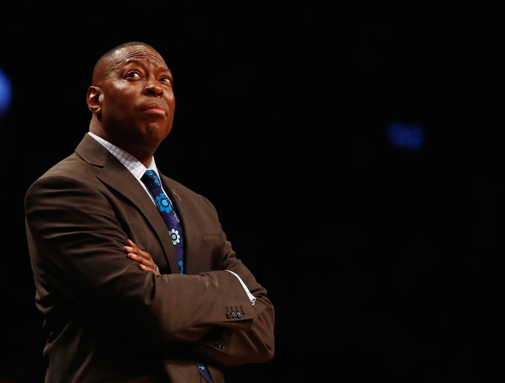 Head Coach Tony Brown of the Brooklyn Nets looks on against the Charlotte Hornets during their game at the Barclays Center on March 22, 2016 in New York City.