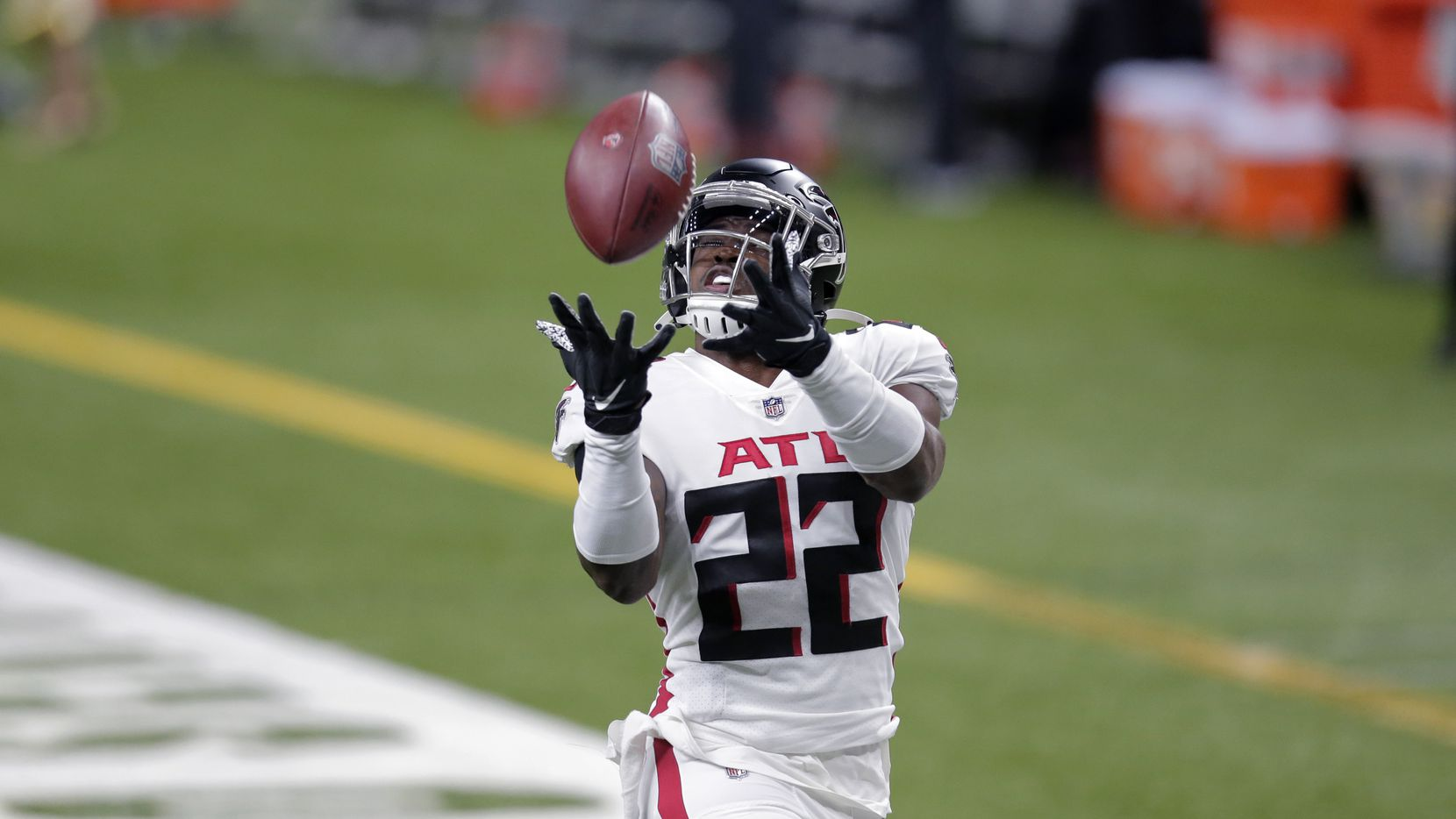 Atlanta Falcons strong safety Keanu Neal (22) warms up before an NFL football game against the New Orleans Saints in New Orleans, Sunday, Nov. 22, 2020.