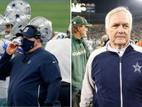 Left: Cowboys head coach Mike McCarthy. Right: Former Cowboys head coach Wade Phillips.