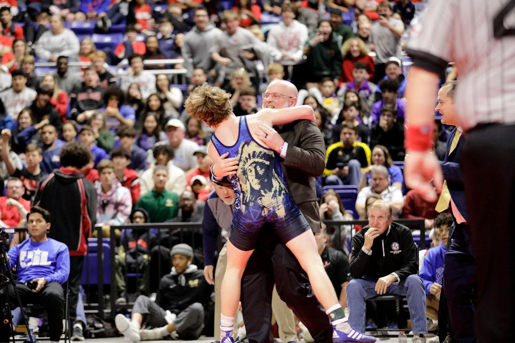 Parker Decker of Keller wrestles against Tagen Jamison of Plano West during the UIL Texas State Wrestling Championships, Saturday, February 22nd, 2020, at the Berry Center in Cypress, Texas. Decker won the match.  Todd Spoth/Special Contributor ORG XMIT: hswrestlinglede_0223spo