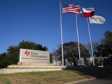 Entrance to the Texas Instruments headquarters on Jan. 18, 2020 in Dallas. (Juan Figueroa/ The Dallas Morning News)