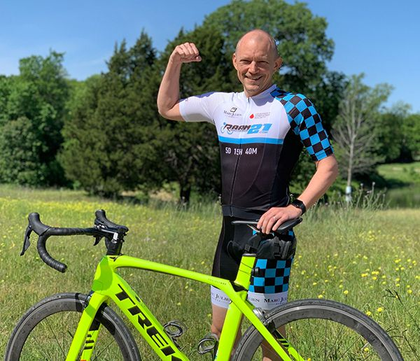 Dan Rembold, a Richardson vice president at Texas Instruments, beat leukemia and is now part of a cross-country cycling team that is biking a total of 3,000 miles across the country to raise money for cancer research.