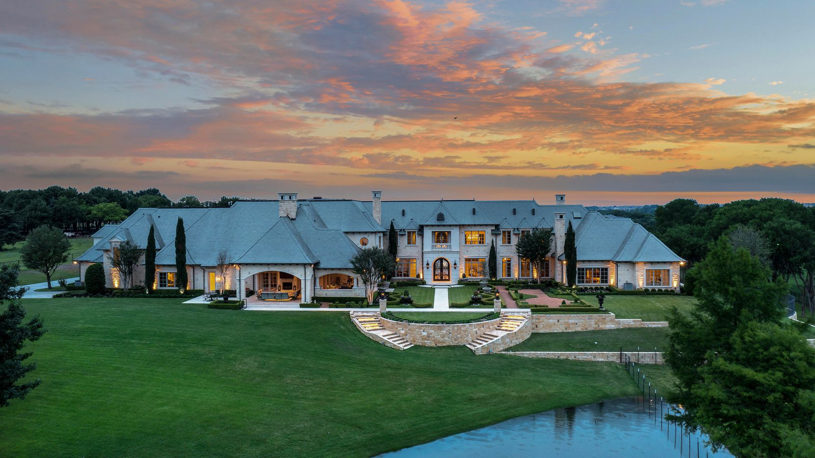 The 15.8-acre gated estate at 1201 Gray Branch Road in McKinney is offered at $11,995,000.