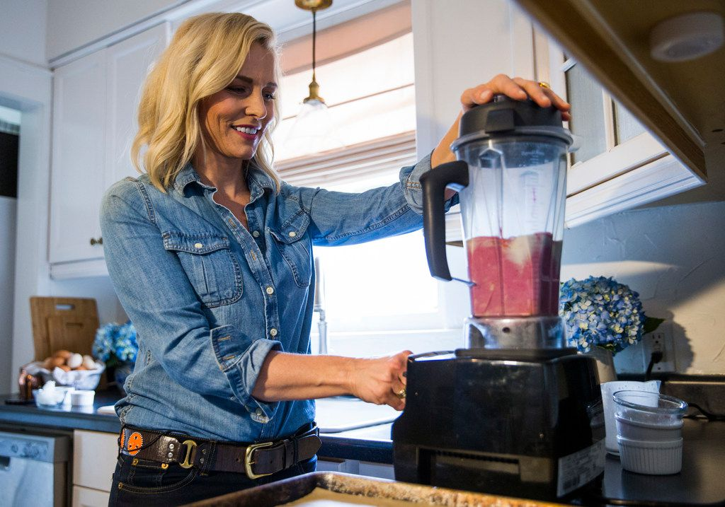 Cat Ruehle makes dragon fruit dessert bars at her home in Fort Worth.
